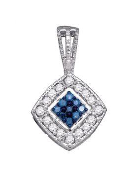 10kt White Gold Womens Round Blue Color Enhanced Diamond Diagonal Square Cluster Pendant 1/4 Cttw