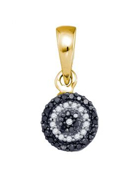 10k Yellow Gold Womens Black Color Enhanced Round Diamond Concentric Circle Cluster Pendant 1/10 Cttw