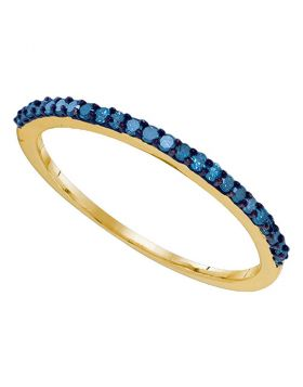 10kt Yellow Gold Womens Round Blue Color Enhanced Diamond Band Ring 1/5 Cttw