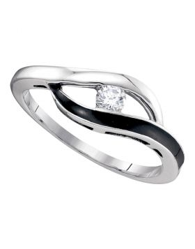 10kt White Gold Womens Round Diamond Solitaire Black-tone Promise Bridal Ring 1/8 Cttw