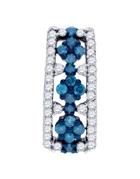 10kt White Gold Womens Round Blue Color Enhanced Diamond Cluster Vertical Pendant 1/2 Cttw
