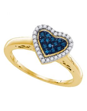 Sterling Silver Womens Round Blue Color Enhanced Diamond Heart Love Ring 1/5 Cttw