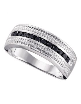 STERLING SILVER ROUND BLACK COLOR ENHANCED DIAMOND ROPED BAND RING 1/2 CTTW