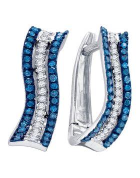 10kt White Gold Womens Round Blue Color Enhanced Diamond Striped Hoop Earrings 1/4 Cttw