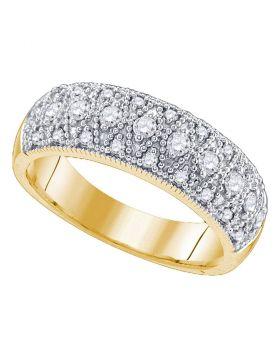 14kt Yellow Gold Womens Round Diamond Milgrain Band Ring 5/8 Cttw