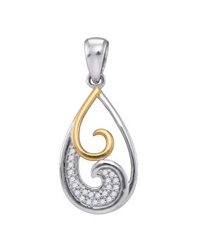Sterling Silver Womens Round Diamond 2-stone Teardrop Pendant 1/20 Cttw
