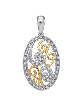 2-tone Sterling Silver Womens Round Diamond Oval Pendant 1/8 Cttw