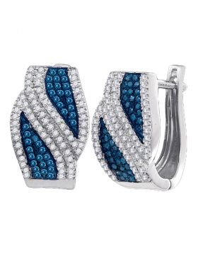 10kt White Gold Womens Round Blue Color Enhanced Diamond Bypass Hoop Earrings 1/2 Cttw