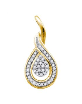 10kt Yellow Gold Womens Round Diamond Teardrop Cluster Pendant 1/10 Cttw