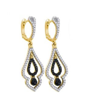 10kt Yellow Gold Womens Round Diamond Dangle Earrings 1/2 Cttw