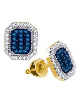 10kt Yellow Gold Womens Round Blue Color Enhanced Diamond Cluster Earrings 1/4 Cttw