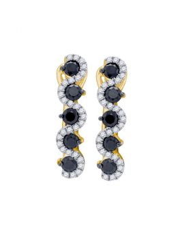 10kt Yellow Gold Womens Round Black Color Enhanced Diamond Hoop Earrings 1.00 Cttw
