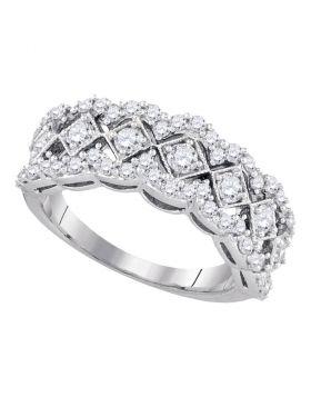 14kt White Gold Womens Round Diamond Diagonal Square Band Ring 1.00 Cttw