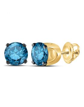 10kt Yellow Gold Womens Round Blue Color Enhanced Diamond Solitaire Stud Earrings 1.00 Cttw