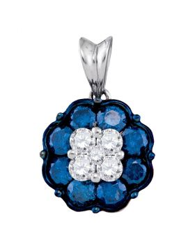 10kt White Gold Womens Round Blue Color Enhanced Diamond Cluster Pendant 1.00 Cttw