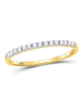 14k Yellow Gold Round Diamond Womens Slender Stackable Size 8 Wedding Band 1/6 Cttw