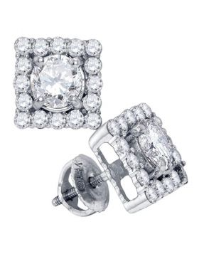 14kt White Gold Womens Round Diamond Square Frame Solitaire Stud Earrings 7/8 Cttw