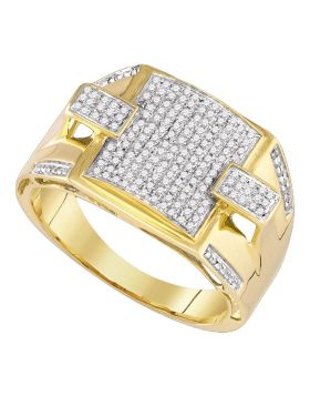 10KT YELLOW GOLD ROUND PAVE-SET DIAMOND SQUARE CLUSTER RING 1/2 CTTW
