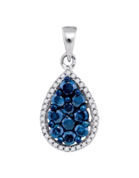 10kt White Gold Womens Round Blue Color Enhanced Diamond Teardrop Cluster Pendant 3/4 Cttw
