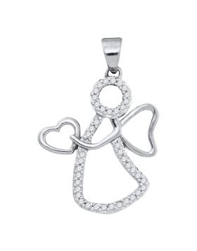 10kt White Gold Womens Round Diamond Guardian Angel Heart Pendant 1/8 Cttw