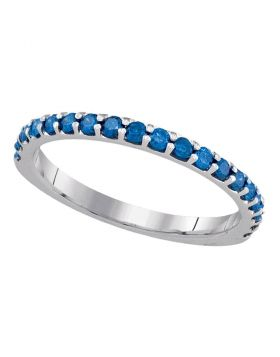 10k White Gold Blue Color Enhanced Round Pave Diamond Womens Slender Wedding Anniversary Band Ring 1/2 Cttw