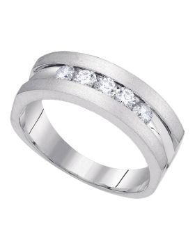 10kt White Gold Mens Round Diamond Wedding Band Ring 1/2 Cttw