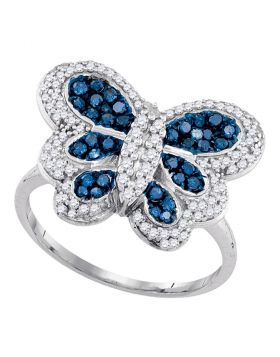 10kt White Gold Womens Round Blue Color Enhanced Diamond Butterfly Bug Ring 3/4 Cttw