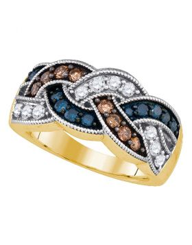 10kt Yellow Gold Womens Round Brown Blue Color Enhanced Diamond Braided Band Ring 1.00 Cttw