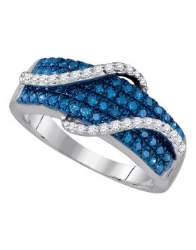 10kt White Gold Womens Round Blue Color Enhanced Diamond Wrap-around Strand Band 5/8 Cttw