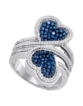10kt White Gold Womens Round Blue Color Enhanced Diamond Double Heart Bypass Ring 1.00 Cttw