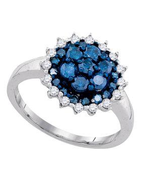10kt White Gold Womens Round Blue Color Enhanced Diamond Flower Cluster Ring 1.00 Cttw