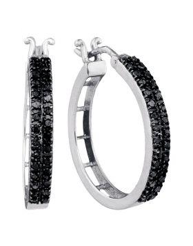 10kt White Gold Womens Round Black Color Enhanced Diamond Hoop Earrings 1/2 Cttw