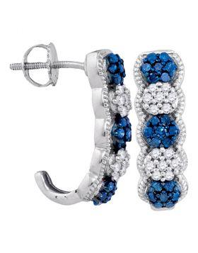 10kt White Gold Womens Round Blue Color Enhanced Diamond Cluster J Half Hoop Earrings 1/2 Cttw