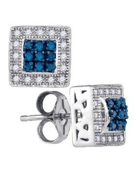 10kt White Gold Womens Round Blue Color Enhanced Diamond Square Frame Cluster Stud Earrings 1/5 Cttw