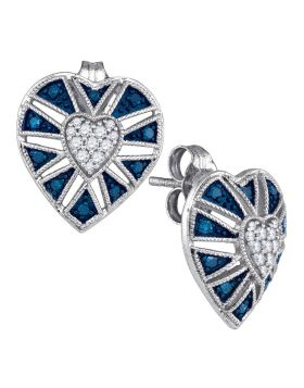 10kt White Gold Womens Round Blue Color Enhanced Diamond Heart Cluster Earrings 1/4 Cttw
