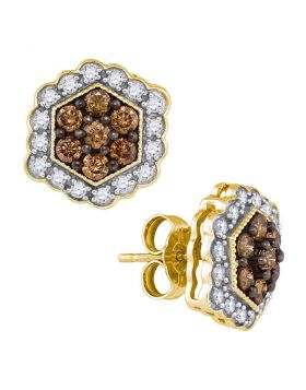10kt Yellow Gold Womens Round Cognac-brown Color Enhanced Diamond Hexagon Flower Cluster Earrings 7/8 Cttw