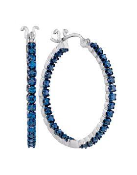 10kt White Gold Womens Round Blue Color Enhanced Diamond Inside-Outside Hoop Earrings 1-5/8 Cttw