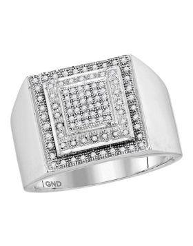 10KT WHITE GOLD ROUND DIAMOND SQUARE FRAME CLUSTER RING 1/3 CTTW