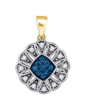 10kt Yellow Gold Womens Round Blue Color Enhanced Diamond Fashion Pendant 1/5 Cttw