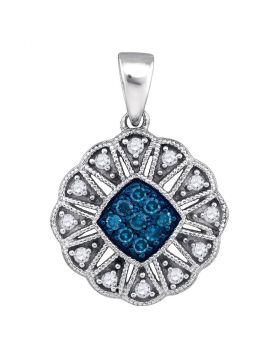 10kt White Gold Womens Round Blue Color Enhanced Diamond Fashion Pendant 1/5 Cttw