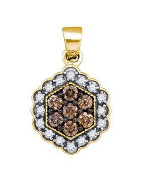 10kt Yellow Gold Womens Round Cognac-brown Color Enhanced Diamond Hexagon Flower Cluster Pendant 1/2 Cttw