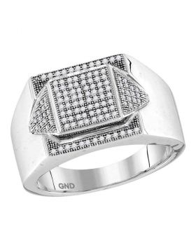 10KT WHITE GOLD ROUND DIAMOND ELEVATED SQUARE CLUSTER RING 1/3 CTTW