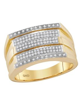 10KT YELLOW GOLD ROUND DIAMOND STRIPED GROOVE CLUSTER RING 1/3 CTTW