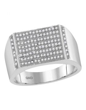 10KT WHITE GOLD ROUND PAVE-SET DIAMOND RECTANGLE CLUSTER RING 1/3 CTTW