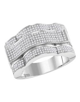 10KT WHITE GOLD ROUND DIAMOND DOMED RECTANGLE CLUSTER RING 1.00 CTTW