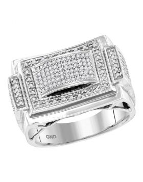 10KT WHITE GOLD ROUND DIAMOND DOMED RECTANGLE FRAME CLUSTER RING 1/2 CTTW