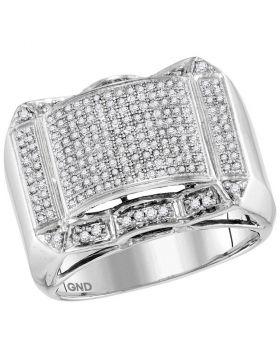 10KT WHITE GOLD ROUND DIAMOND SYMMETRICAL DOMED CLUSTER RING 5/8 CTTW