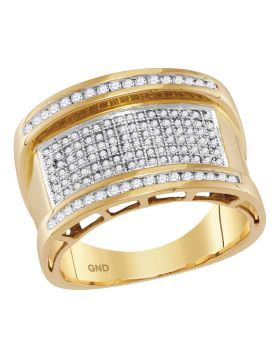 10KT YELLOW GOLD ROUND DIAMOND ROUNDED GROOVE CLUSTER RING 5/8 CTTW