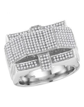 10KT WHITE GOLD ROUND DIAMOND RECTANGLE ARCHED CLUSTER RING 1.00 CTTW