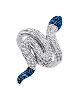 Sterling Silver Womens Round Blue Color Enhanced Diamond Serpent Snake Fashion Ring 1/6 Cttw